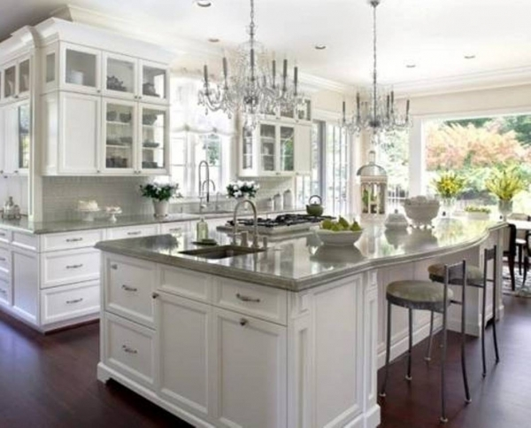 Incredible White Kitchen W Gray Granite Counterhmmcould Open Up The Small Gray And Off White Kitchens
