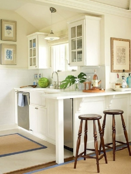 Marvelous Small Pendant Lamp Feat Wood Stools In Chic Kitchen Bar Design Pottery Barn Small Spaces