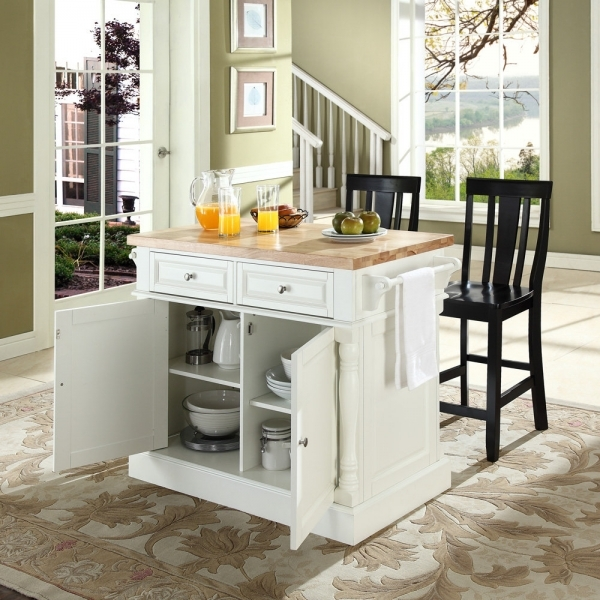 Picture of Brown Cabinets With Ceramic Floor Tile Design Also Compact Small Small Kitchen Island With Stools