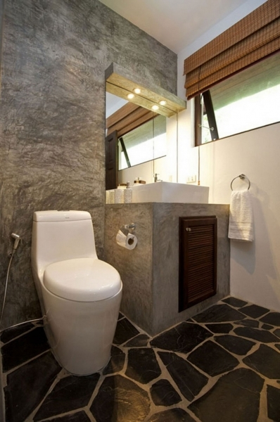 Best Makeover Decoration Ideas With Black Mosaic Stone Tile Flooring Small Toilet Design