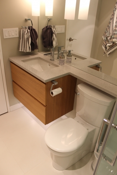 Inspiring With Teak Wooden Floating Vanity Combinated Creamy Granite Countertop Cheap Remodeling Ideas Small Bathroom