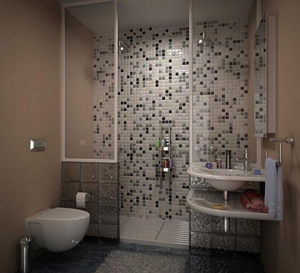 Stunning Featuring Full Tile Pattern Wall Decor Around Shower Area And Black Ceramic Laminate Flooring Cheap Remodeling Ideas Small Bathroom