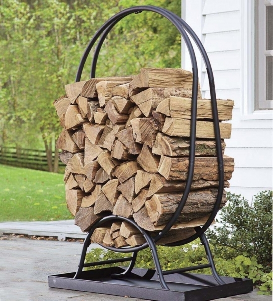 Fascinating Portable Outdoor Firewood Storage Rack With Black Metal Frame And Outdoor Storage For Small Spaces