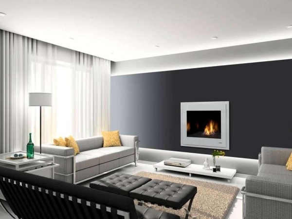 Inspiring Living Room Black Accent Wall With White Curtain For Amazing Electric Fireplaces For Small Living Rooms