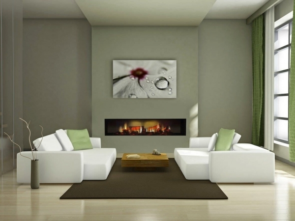 Outstanding Lovely Indian Red Wall Paint Scheme Living Room Design With Black Electric Fireplaces For Small Living Rooms