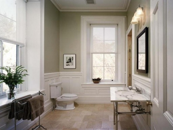 Alluring Bathroom Neutral Wall Color With White Trim Line For Small Paint Color For Small Bathroom