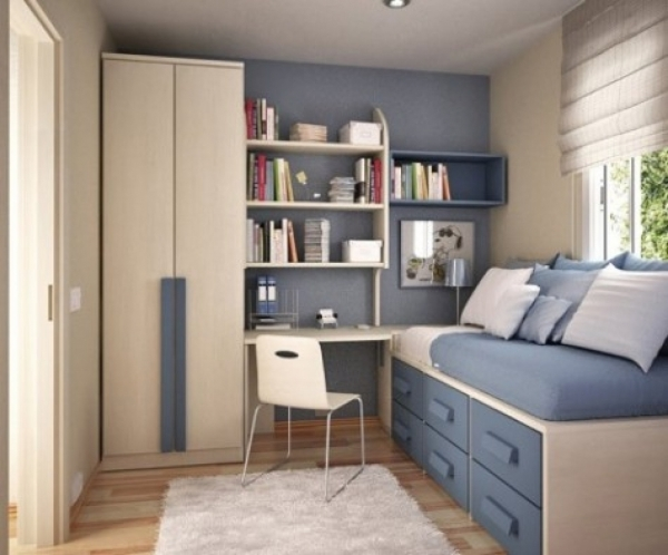 Fantastic Bedroom Modern Small Bedroom Ideas Feature Beige And Blue Wall Wardrobe For A Small Bedroom