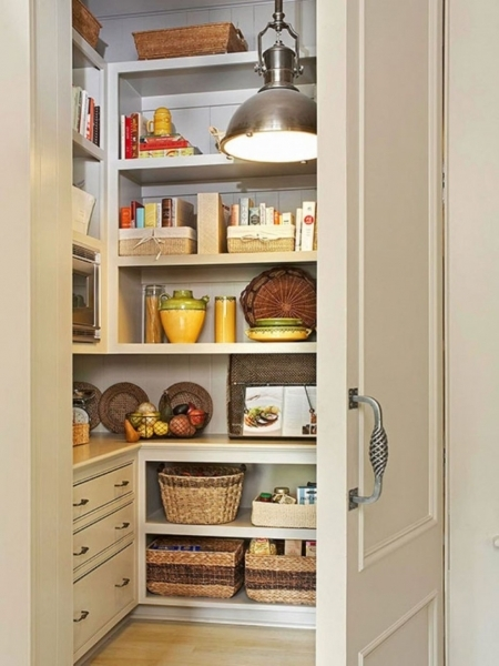 Fascinating Creamy White Small Kitchen Pantry Idea Featuring Floating White Small Space Need Storage