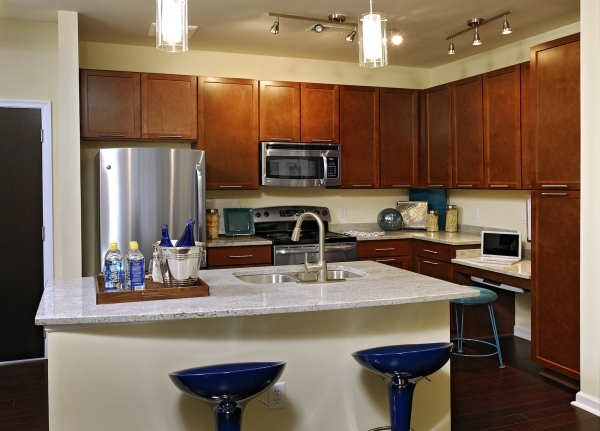 Stunning Interior White Kitchen Island With Sink Plus Blue Stools Placed On Small Kitchen Island With Sink