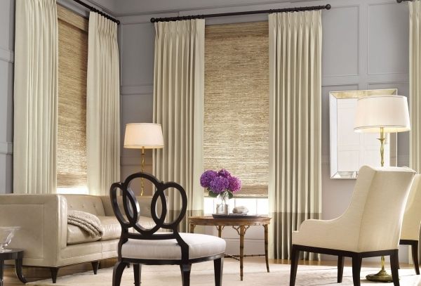 Stylish Elegant Gray Loose Curtain And Valance Decor With Twin Shaded Window Treatments For Small Rooms