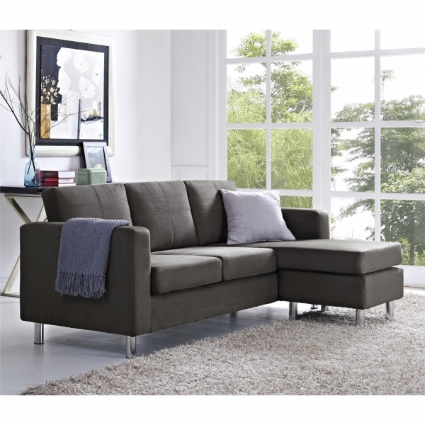 Awesome Dark Gray Microfiber Corner Sofa With Chaise Combined Light Fur Corner Sofas For Small Rooms