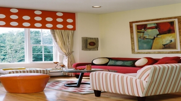 Fantastic Apartments Comfortable Small Living Room Design With Red Couch Small Size Comfort Room Design