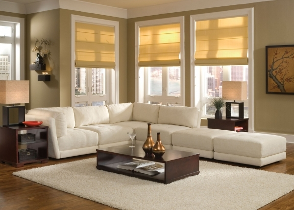 Gorgeous Light Brown Fabric Corner Sofa With Extra Bed Mixed Rounded Side Corner Sofas For Small Rooms