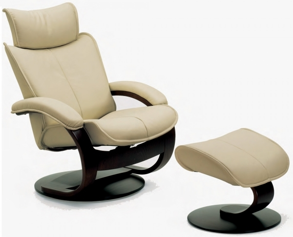 Image of Fjords Ona Ergonomic Leather Recliner Chair Ottoman Scandinavian Small Leather Recliner