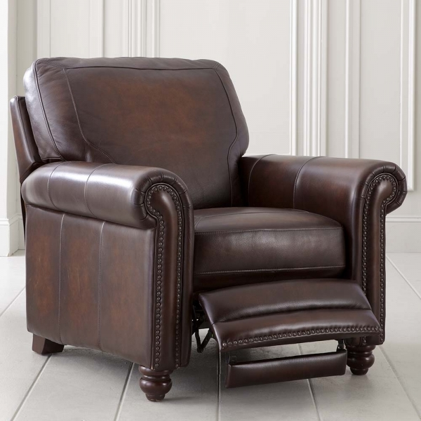 Picture of Old World Brown Leather Recliner Small Leather Recliner