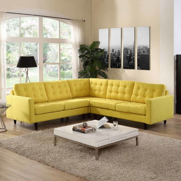 Stylish Likable Small Living Room Inspiration The Headlining Yellow Tufted Corner Sofas For Small Rooms