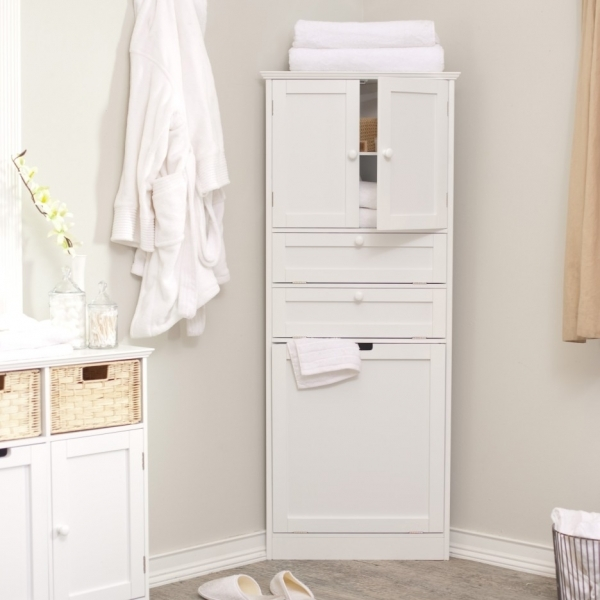 Wonderful Corner White Wooden Linen Cabinet With Two Drawers And Small Door Corner Small Cupboard