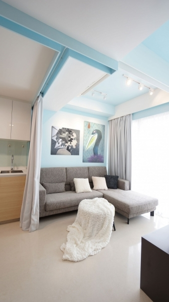 Delightful Curtain Apartment In Singapore Designed By Hue Showing Living Room And Kitchen Interior Design For Living Room And Kitchen For Small Spaces