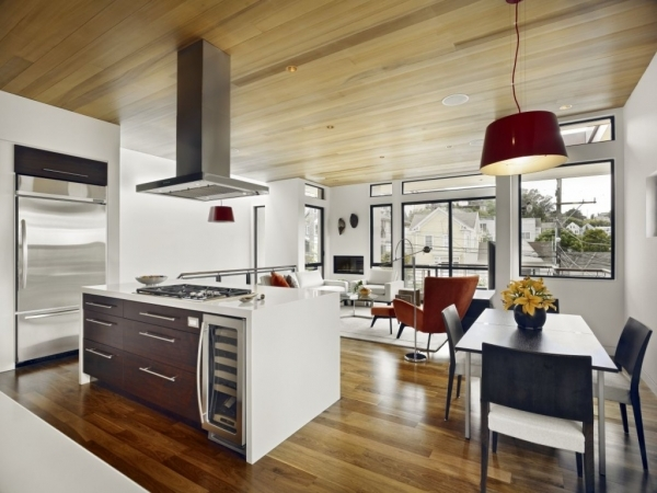 Incredible Modern Living Room And A Kitchen Style For Small Space Black And Kitchen For Small Space