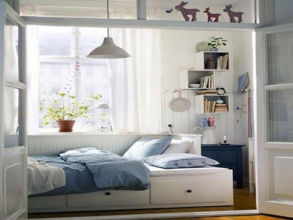 Outstanding Wonderful White Blue Wood Glass Modern Design Small Bedroom Ideas Small Bedroom With Full Bed