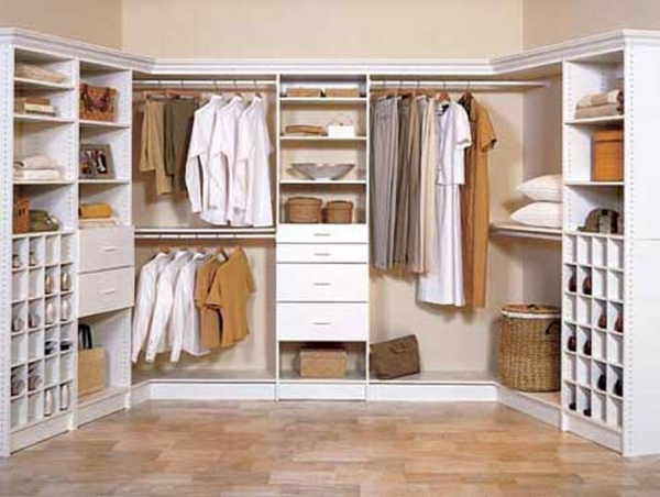 Picture of Green Area Carpet Walk In Closet Small Space L Shaped White Finish Wardrobe Small Space