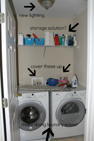 Outstanding Decoration After Makeover Small Laundry Room Design With New Lighting Wood Wall Mounted Storage Solutions And Front Loading Washer And Dryer Storage For Cheap Laundry Room Storage Ideas For Small Spaces