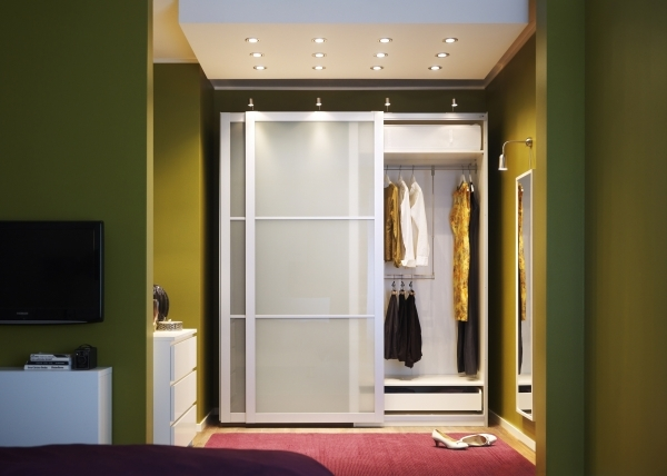 Remarkable Transparent Brown Glass Closet In Small Space With Sliding Glass Bedroom Closet Door Ideas For Small Spaces