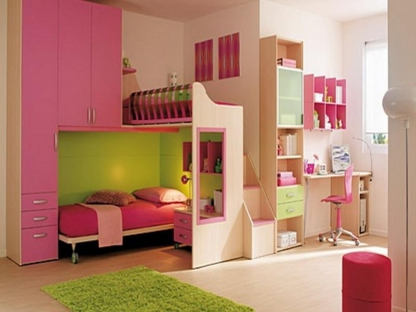 Awesome Cream Wooden Bunk Bed With Pink Wooden Storage And Drawers With Girl Bedroom Ideas Small Bedroom For Girls