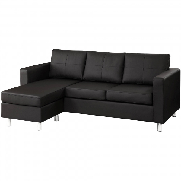 Best Small Spaces Configurable Sectional Sofa Black Faux Leather Small Sectional Sofas