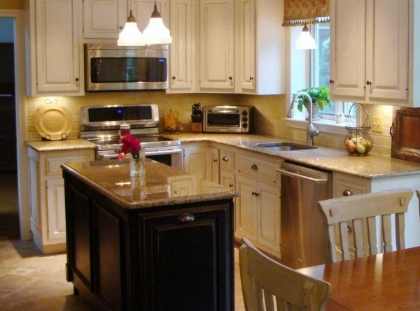 Delightful Small Kitchen Design With Island And White Cabinetry Sets Complete Small Kitchen With Window
