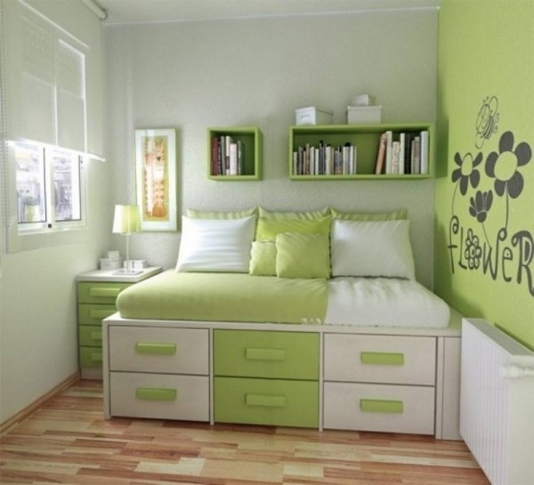 Image of Stunning Small Space Teen Bedroom Design With Cozy Orange Bed And Small Modern Rooms For Tweens