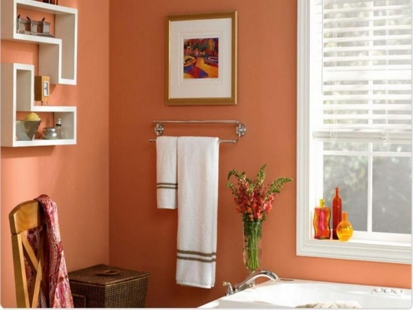 Remarkable Bathroom Sandy Coral Wall Color With Decorative Shelves For Small Popular Small Bathroom Colors