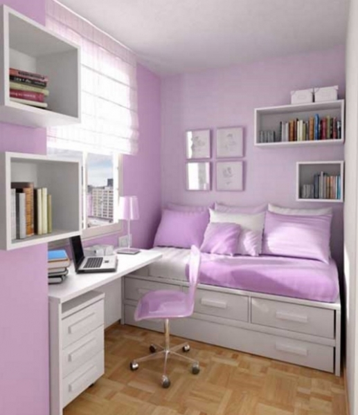 Stylish Bedroom Furniture For Teenagers Purple Wall Bookcase Study Small Modern Rooms For Tweens